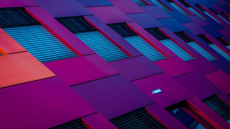 Purple Building, Pattern, Geometrical, Low Angle Photography, Exterior, Wallpaper