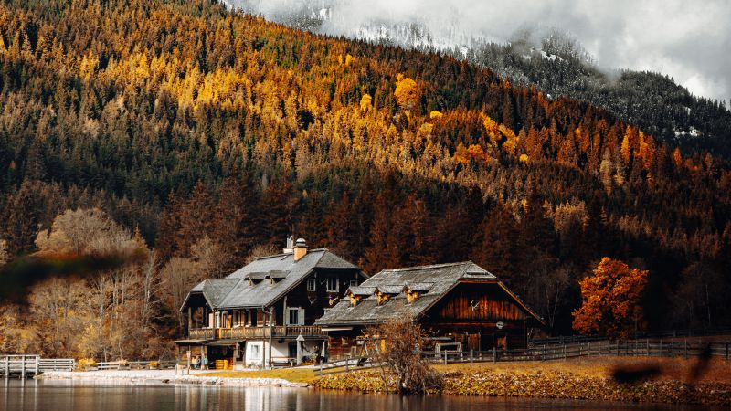 Wooden House, Lakeside, Autumn trees, Countryside, Mountain, Foggy, Glacier, Water, Landscape, 5K, Wallpaper