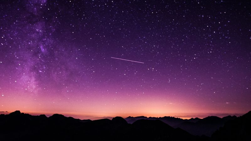 Purple sky, Cima d'Asta, Silhouette, Mountains, Stars, Night sky, Astronomy, Outdoor, Outer space, 5K, Wallpaper
