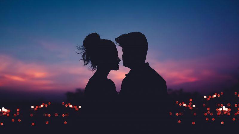 Couple, Silhouette, Lovers, Romantic, Evening sky, Dawn, Dusk, 5K, Wallpaper