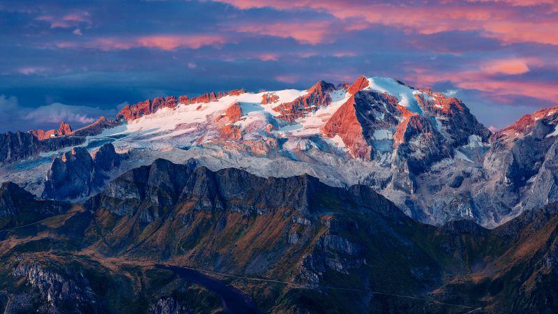 Marmolada Glacier, Italy, Mountain range, Snow covered, Landscape, Peaks, Tourist attraction, Aerial view, 5K, 8K, Wallpaper