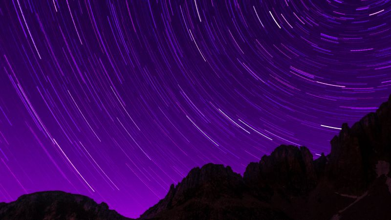 Star Trails, Purple sky, Timelapse, Night sky, Astronomy, Dark night, Starry sky, Outer space, Night time, Alps mountains, Pattern, 5K, Wallpaper