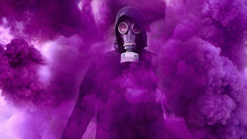 Gas mask, Hoodie, Person in Black, Purple Smoke, Protective Gear, 5K, Wallpaper