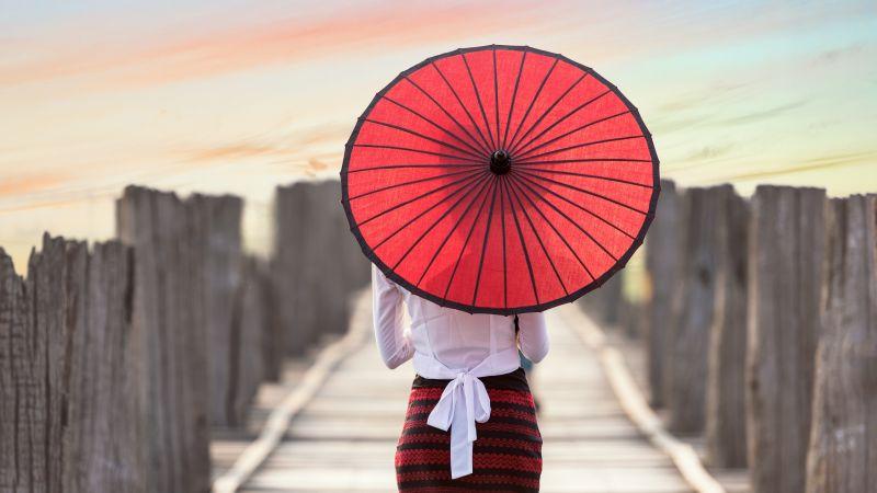 Red Umbrella, Burmese woman, Wooden pier, Girl, Traditional, Culture, Myanmar, Blur, Bridge, 5K, 8K, Wallpaper