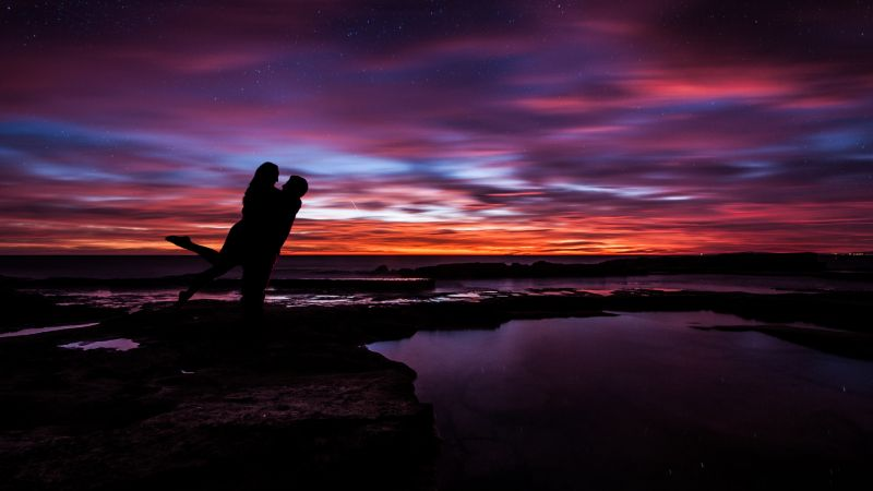 Couple, Sunset, Silhouette, Together, Romantic, Colorful Sky, Dusk, Water, Wallpaper