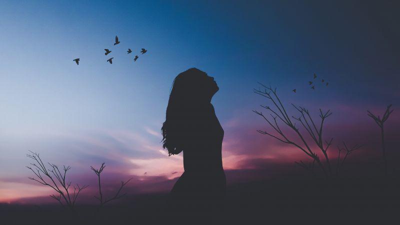 Girl, Silhouette, Twilight, Sunset, Dusk, Evening sky, Wallpaper