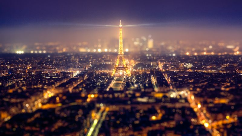 Eiffel Tower, Paris, Night time, City lights, Cityscape, Tourist attraction, Popular cities, 5K, Wallpaper