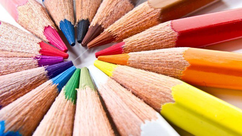 Color pencils, macro, Closeup, Assorted, Colorful, Pattern, Circular, 5K, Wallpaper
