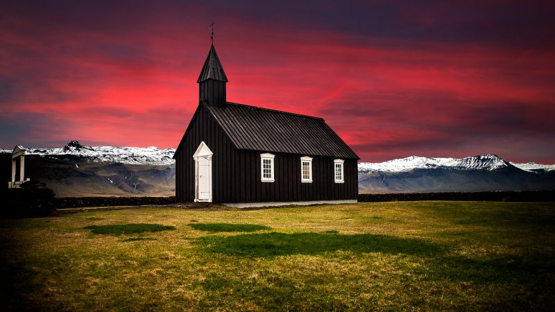 Búðir, Iceland, Church, Hamlet, Landscape, Red Sky, Glacier mountains, Snow covered, Wooden House, Scenery, Beautiful, 5K, Wallpaper