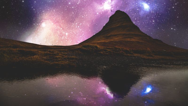 Landscape, Mountains, Starry sky, Nebula, Outer space, Body of Water, Reflection, Purple, Night time, 5K, Wallpaper
