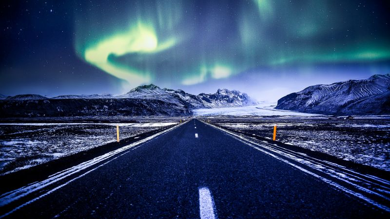Aurora Borealis, Road, Mountains, Snow covered, Glacier, Landscape, Starry sky, Beautiful, Iceland, 5K, Wallpaper