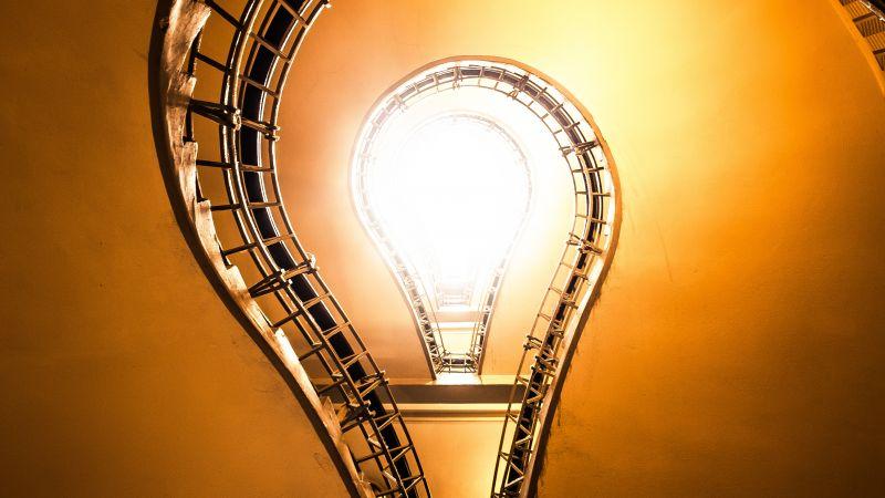 Staircase, Bulb illustration, Steps, Look up, Indoor, Sun light, 5K, Wallpaper