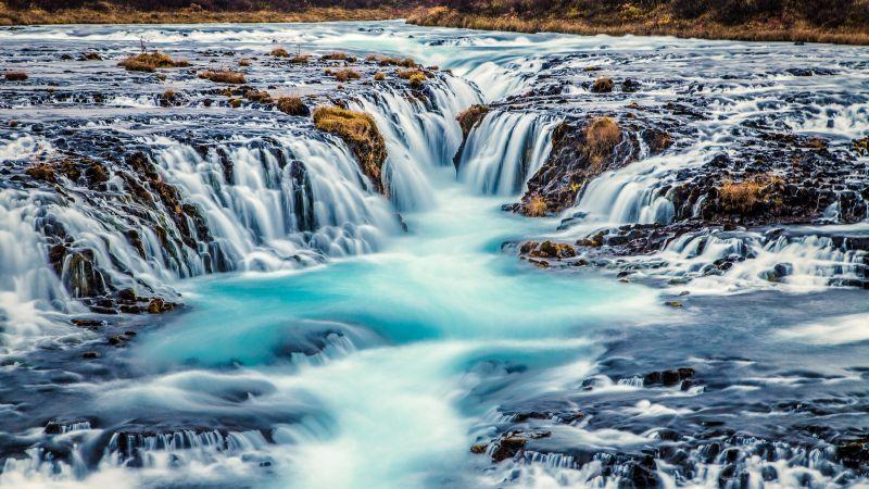 Bruarfoss Waterfall, Iceland, River Stream, Blue Water, Landscape, Scenery, Famous Place, Long exposure, Beautiful, 5K, Wallpaper
