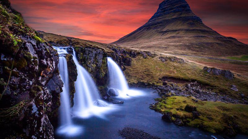 Kirkjufell, Iceland, Mountain, Waterfalls, Landscape, Water Stream, Long exposure, Dusk, Red Sky, 5K, Wallpaper