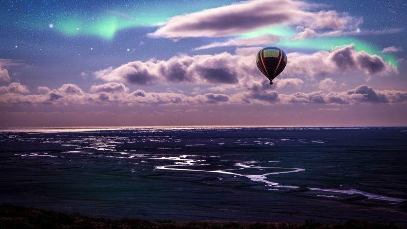 Hot air balloon, Aurora Borealis, Northern Lights, Clouds, Landscape, Dusk, Starry sky, 5K, Wallpaper