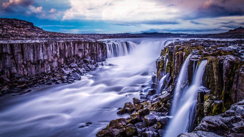 Selfoss Waterfall, Iceland, Landscape, River Stream, Long exposure, Tourist attraction, Travel, Rocks, Cliffs, Evening, Scenery, 5K, Wallpaper
