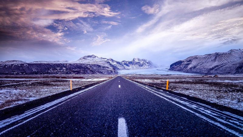 Road, Mountains, Snow covered, Glacier, Landscape, Beautiful, Iceland, Clouds, Calm, 5K, Wallpaper