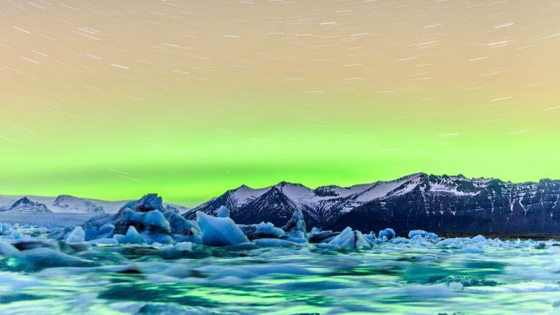 Jökulsárlón, Glacial lake, Iceland, Aurora Borealis, Star Trails, Timelapse, Snow covered, Mountains, Green Sky, Purple, Circular, 5K, Wallpaper