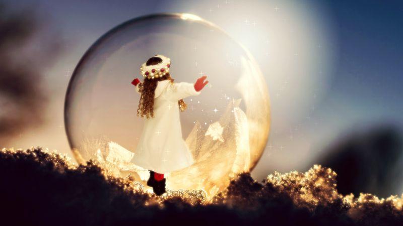 Baby girl, Child, Soap Bubble, Frozen bubble, Sunlight, Christmas, Winter, Bokeh, Xmas, Surreal, Cute Girl, 5K, Wallpaper