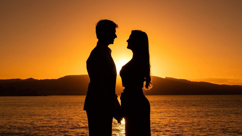 Couple, Silhouette, Sunset, Backlit, Seascape, Yellow, Dawn, Beach, Romantic