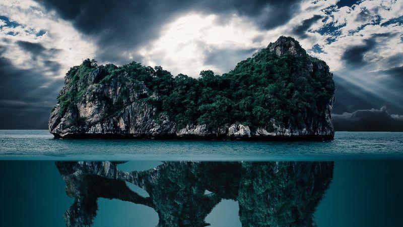 Dinosaur Skull, Island, Mystery, Ocean, Hidden, Underwater, Clouds, Imagination, Blue Water, Wallpaper