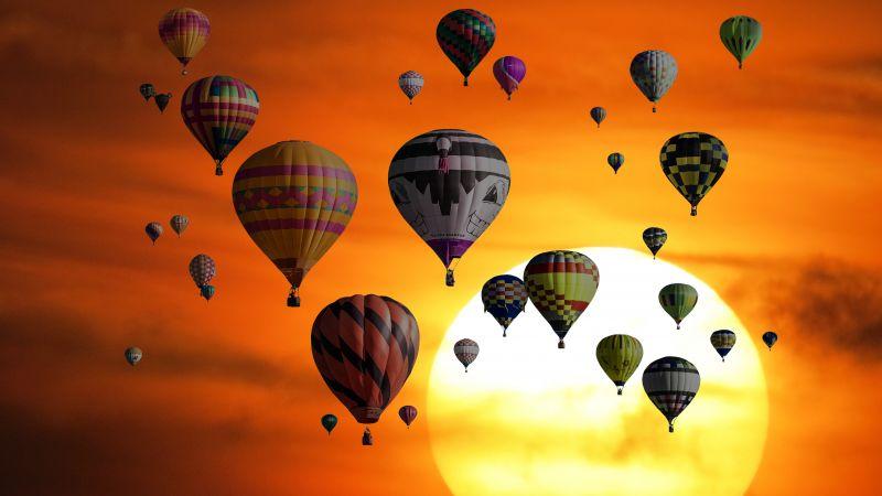 Hot air balloons, Sunset, Orange sky, Travel, Vacation, Holidays, Adventure, Sky view, Wallpaper