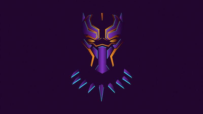 Black Panther, Purple background, Minimal art, Wallpaper