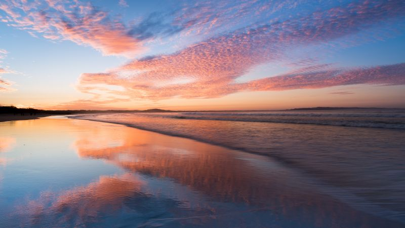 Sunset, Horizon, Reflections, Noosa Beach, Queensland, Australia, Wallpaper