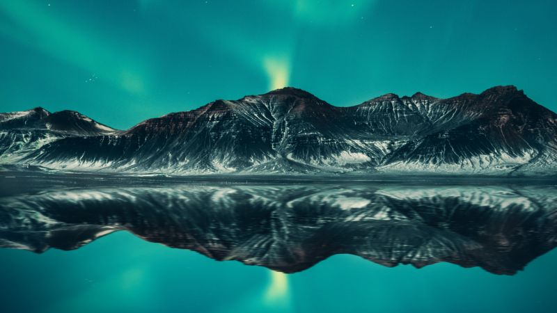 Aurora Borealis, Mountains, Lake, Aurora sky, Iceland, 5K, Wallpaper