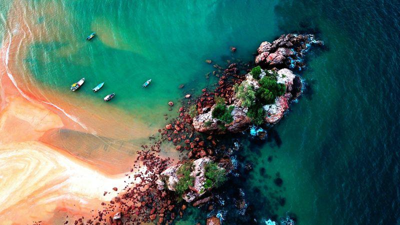Island, Beach, Ocean blue, Boats, Aerial view, Birds eye view, Sand, Rocks, Seascape, Waves, Wallpaper