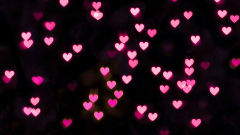 Pink hearts, Black background, Bokeh, Glowing lights, Vibrant, Blurred, Heart shape, Wallpaper