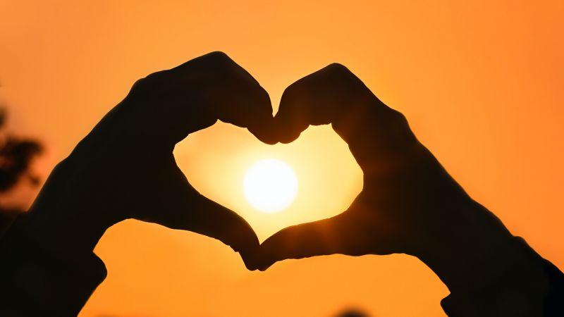 Sunset, Silhouette, Heart shape, Hands together, Valentine's Day, Sunburst Gold, Orange background, Wallpaper