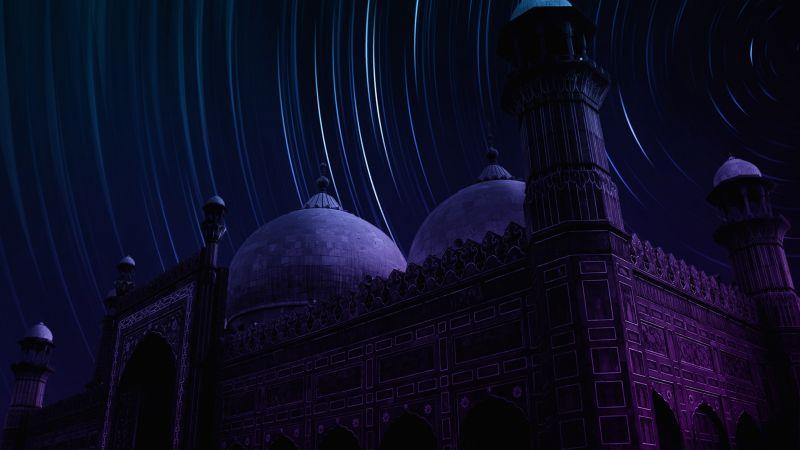 Badshahi Mosque, Lahore, Pakistan, Masjid, Star Trails, Dark background, Night time, Neon colors. Dome, Ancient architecture, Long exposure, Timelapse, Wallpaper