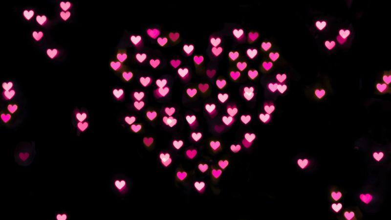 Pink hearts, Black background, Bokeh, Glowing lights, Vibrant, Blurred, Heart shape, Valentines Day, Love heart, 5K, Wallpaper