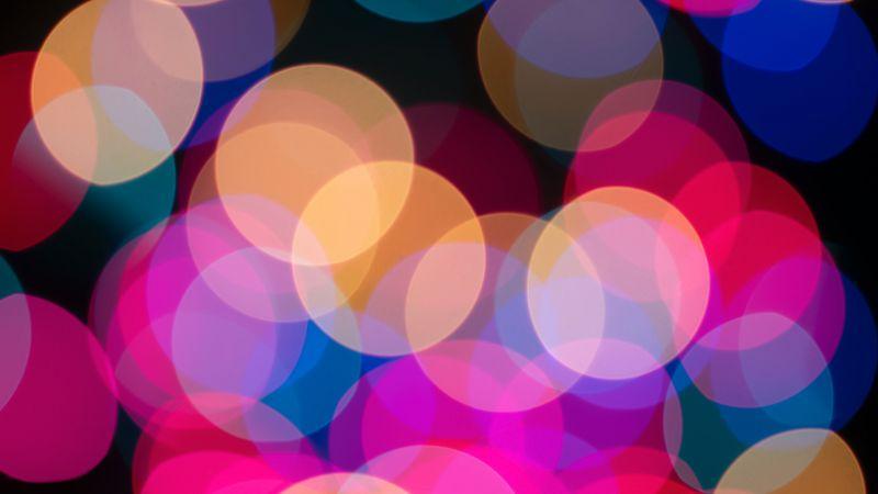 Lights Bokeh, Glowing lights, Vibrant, Blurred, Circles, Texture, Backdrop, Pattern, Wallpaper