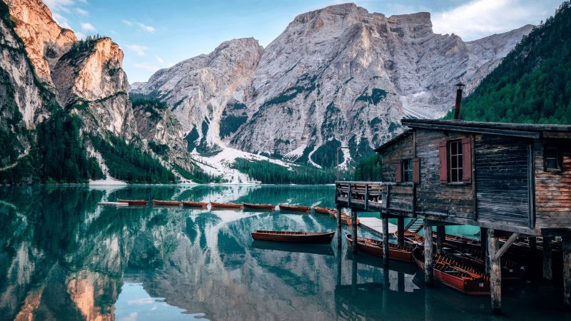 Lake Braies, Italy, Wooden House, Boats, Mountains, Glacier, Snow, Body of Water, Reflection, Landscape, Scenery, Travel, 5K, Wallpaper