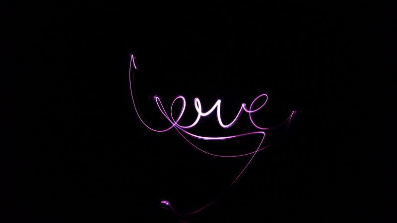 Love text, Black background, Purple lights, Valentine's Day, Neon light, 5K, Wallpaper