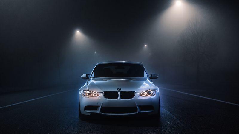 BMW M3, White cars, Dark background, Night time, Street lights, Foggy night, Automobile, 5K, Wallpaper