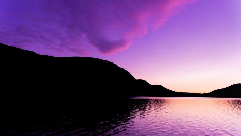 Lake District National Park, United Kingdom, England, Purple Sky, Silhouette, Mountain, Body of Water, Reflection, Beautiful, Scenery, Sunset, Landscape, 5K, Wallpaper