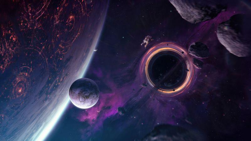 Astronaut, Anomaly, Celestial, Black hole, Asteroids, 5K, Wallpaper