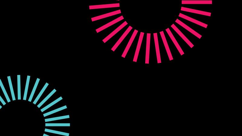 Black background, Cyan, Pink, Gears, Minimalist, AMOLED, Wallpaper