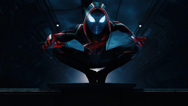 Marvel's Spider-Man: Miles Morales, Photo mode, Dark background, PlayStation 5, 2020 Games, 5K, Wallpaper