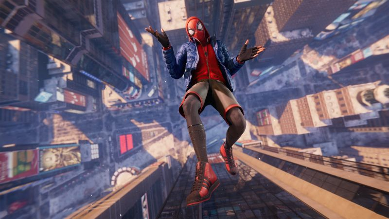 Marvel's Spider-Man: Miles Morales, Gameplay, PlayStation 5, Falling, 2020 Games, Wallpaper