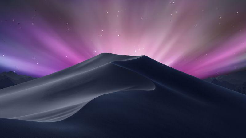 macOS Mojave, OS X Leopard, Aurora sky, Desert, Stock, Aesthetic, Wallpaper
