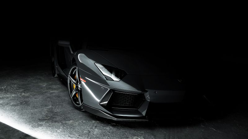 Lamborghini Aventador, Grey, Dark background, CGI, Wallpaper