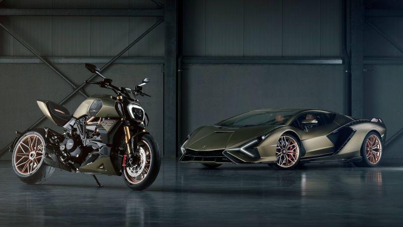 Ducati Diavel 1260 Lamborghini, Lamborghini Sián FKP 37, 2021, 5K, Wallpaper