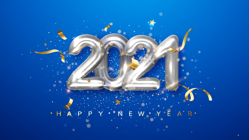 2021 New Year, Happy New Year, Foil balloons, Blue background, Party, 5K, Wallpaper
