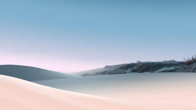 Sand Dunes, Desert, Clear sky, Blue Sky, Sunny day, Daylight, Microsoft Surface, Stock, Wallpaper