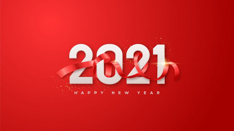2021 New Year, Happy New Year, Red background, Ribbon, 5K, Wallpaper