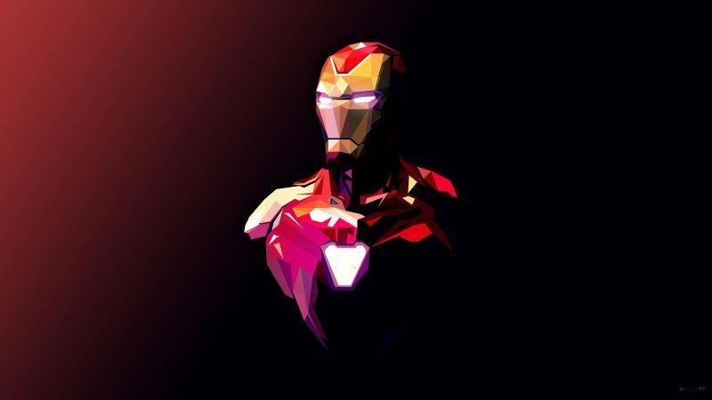 Iron Man, Minimal art, Polygonal, Marvel Superheroes, Dark background, Wallpaper